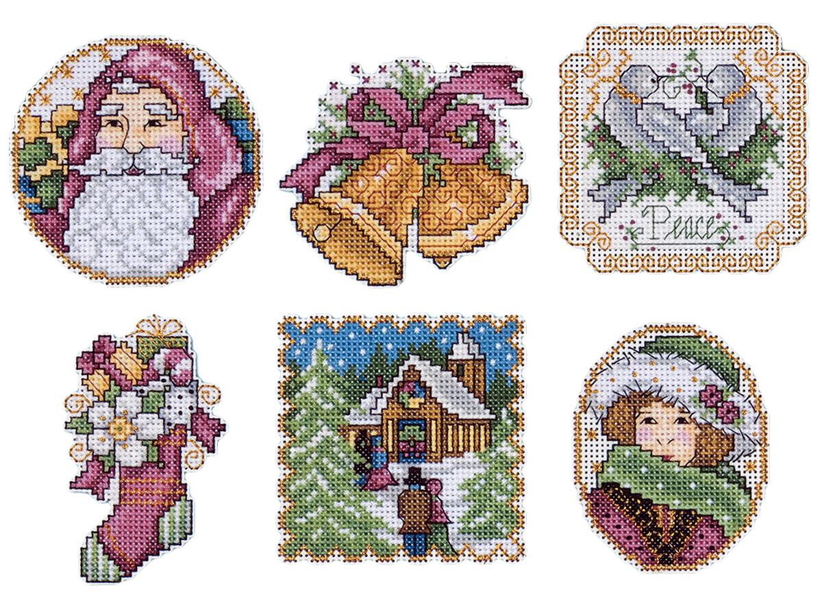 Набор для вышивания игрушки Design Works Викторианское Рождество, 7 х 9 см, 6 шт1688Для 6 игрушек: канва пластиковая 14, нитки мулине (100% хлопок), игла, инструкция на русском языке.