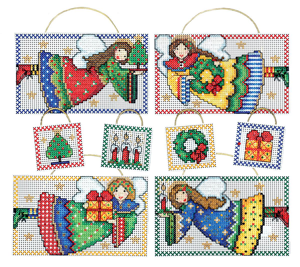 Набор для вышивания игрушки Design Works Фольк-ангелы, 7 х 9 см, 6 шт1690Для 6 игрушек: канва пластиковая 14, нитки мулине (100% хлопок), игла, инструкция на русском языке.