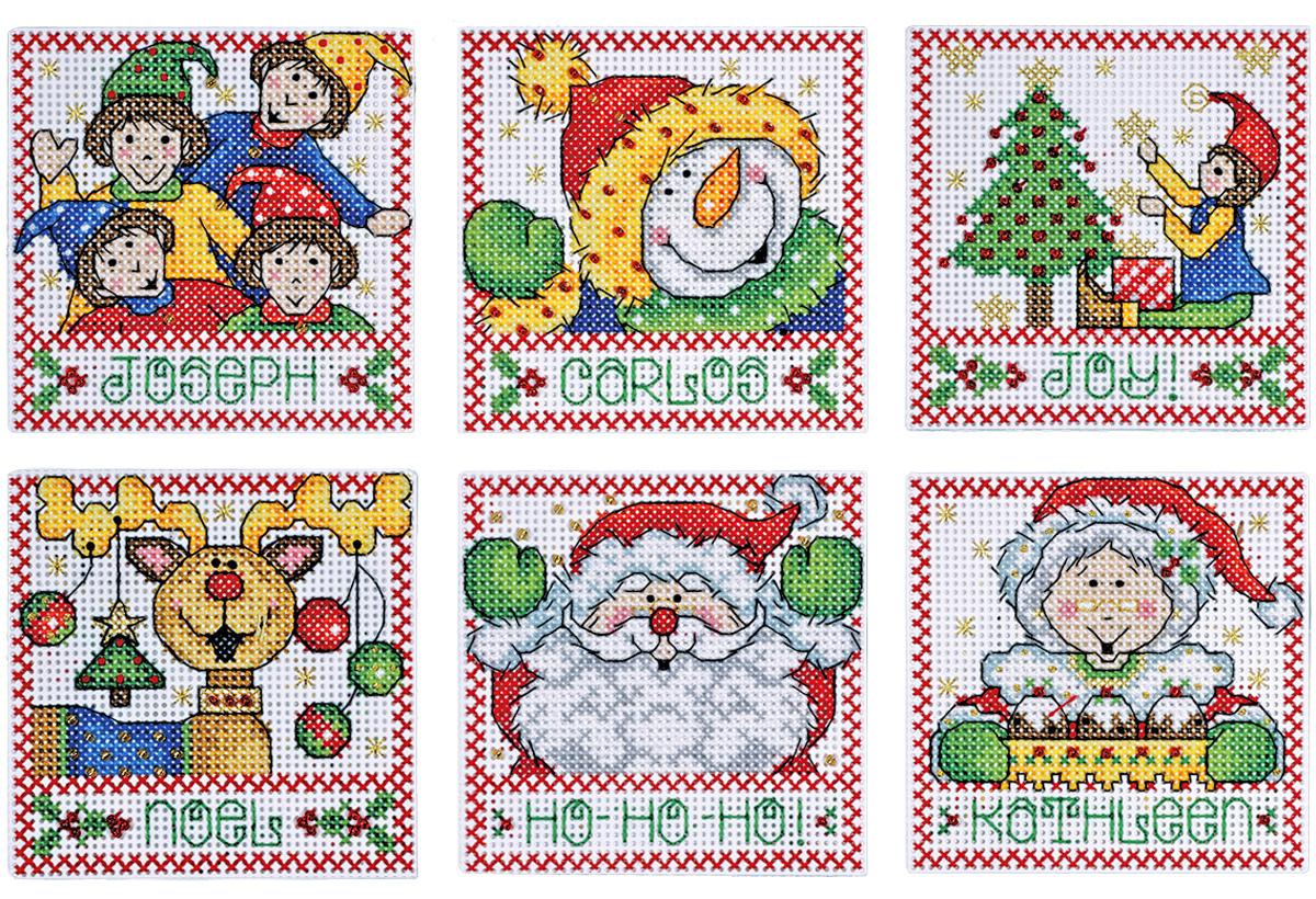 Набор для вышивания крестом Design Works Новогодние приветствия, 7 х 9 см, 6 шт1691Для 6 игрушек: канва пластиковая 14, нитки мулине (100% хлопок), игла, инструкция на русском языке.