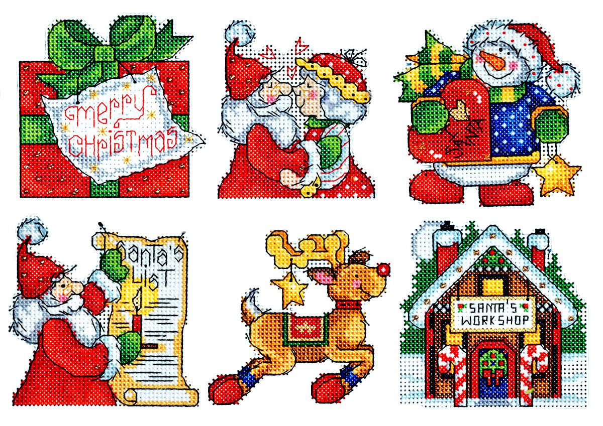 Набор для вышивания крестом Design Works Мастерская Санты, 7 х 9 см, 6 шт1692Для 6 игрушек: канва пластиковая 14, нитки мулине (100% хлопок), игла, инструкция на русском языке.