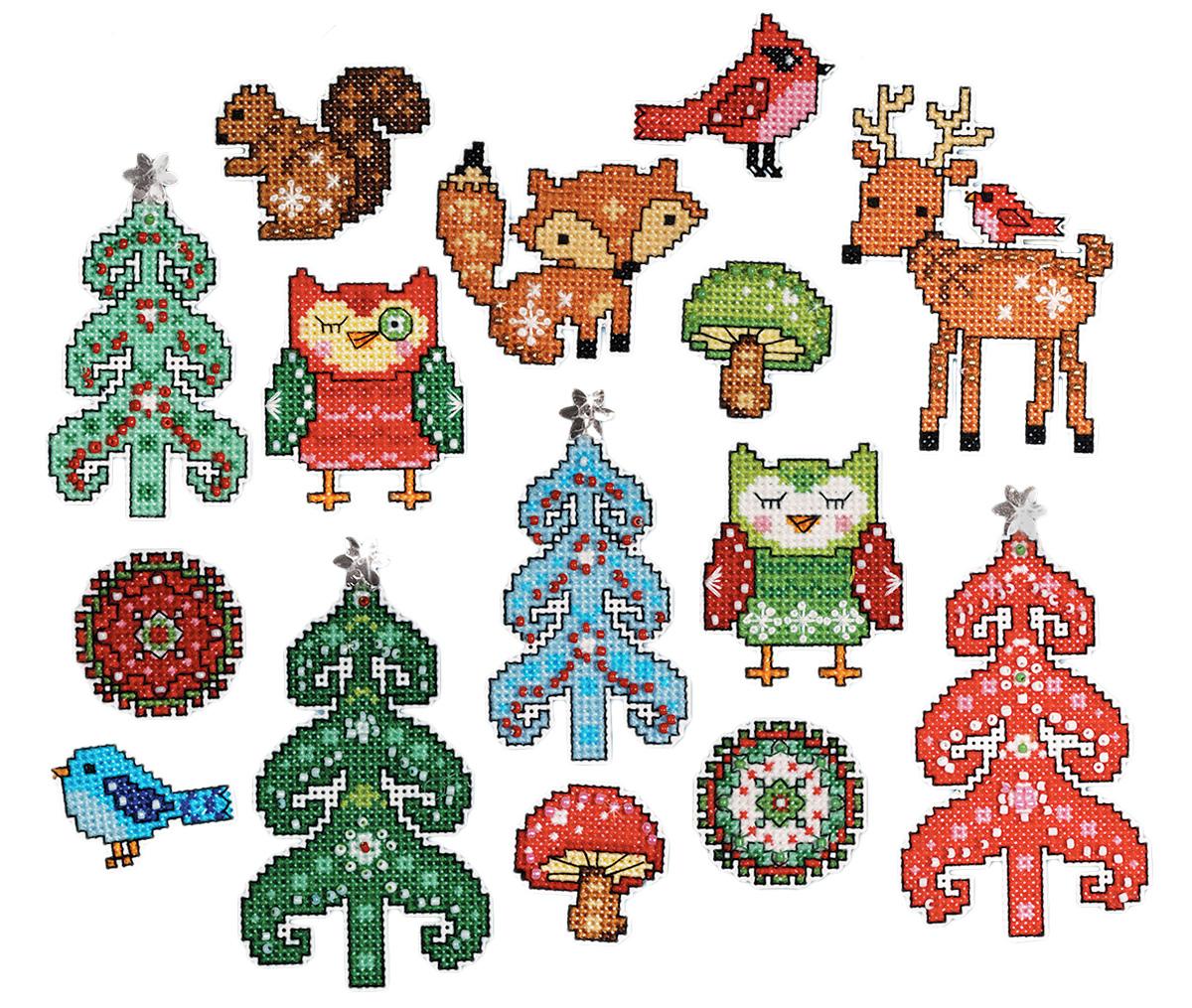 Набор для вышивания крестом Design Works Лесные друзья, 7 х 9 см, 6 шт1694Для 6 игрушек: канва пластиковая 14, нитки мулине (100% хлопок), игла, инструкция на русском языке.