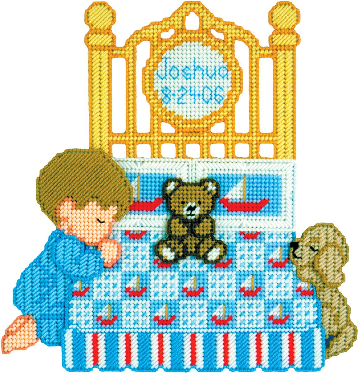 Набор для вышивания панно Design Works Молящийся мальчик, 33 х 33 см1873Пластиковая канва, нитки 100% акрил, игла, инструкция