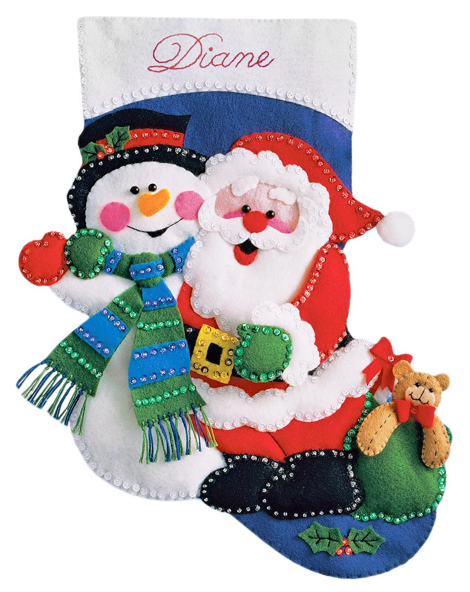 Набор для творчества Design Works Сапожок. Снеговик и Санта, 41 см5032Цветной фетр, нитки 100% хлопок, бисер, паетки, выкройки деталей, игла, инструкция