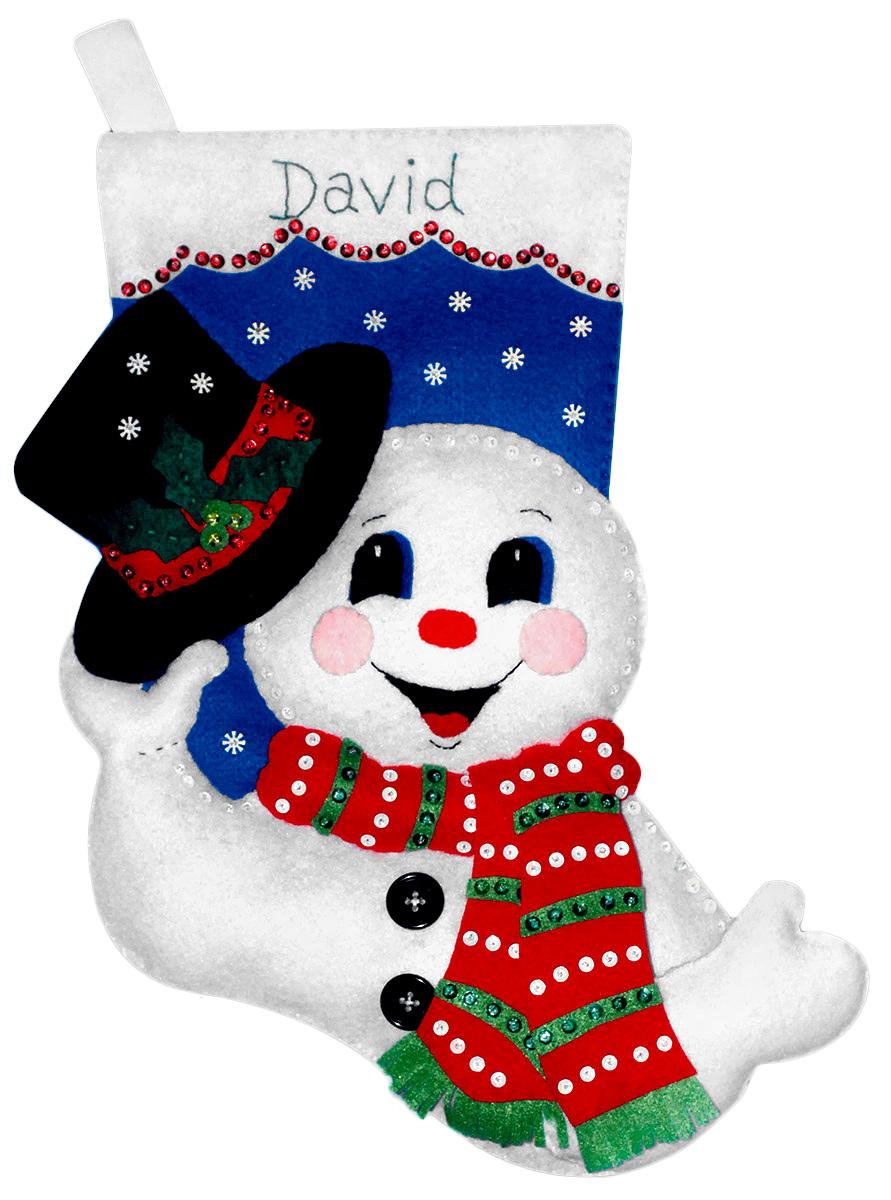 Набор для творчества Design Works Сапожок. Снеговик со шляпой, 41 см5078Цветной фетр, нитки 100% хлопок, бисер, паетки, выкройки деталей, игла, инструкция