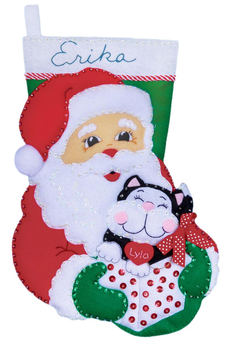 Набор для творчества Design Works Сапожок. Санта с котом, 41 см5096Цветной фетр, нитки 100% хлопок, бисер, паетки, выкройки деталей, игла, инструкция