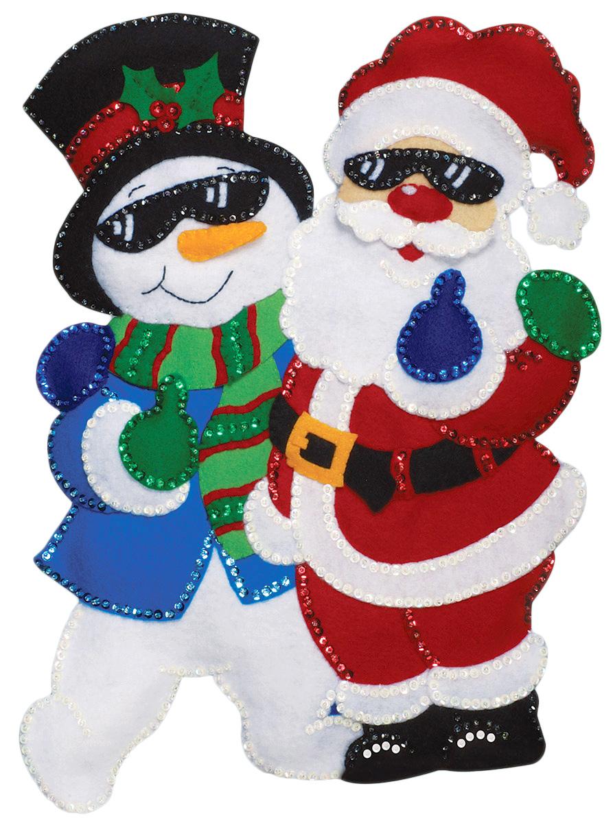 Набор для творчества Design Works Панно. Санта и снеговик, 33 х 46 см5188Цветной фетр, нитки 100% хлопок, бисер, паетки, выкройки деталей, игла, инструкция