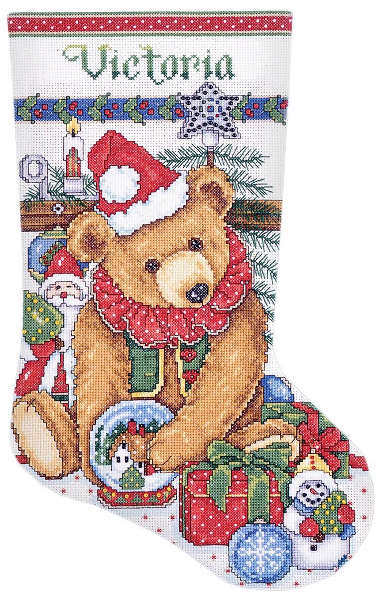 Набор для вышивания крестом Design Works Викторианский мишка, 43 см5391Канва Аида 14 (100% хлопок), ткань для обратной стороны сапожка, нитки мулине (100% хлопок и металлизированные), бусины, игла, подробная инструкция со схемой вышивки