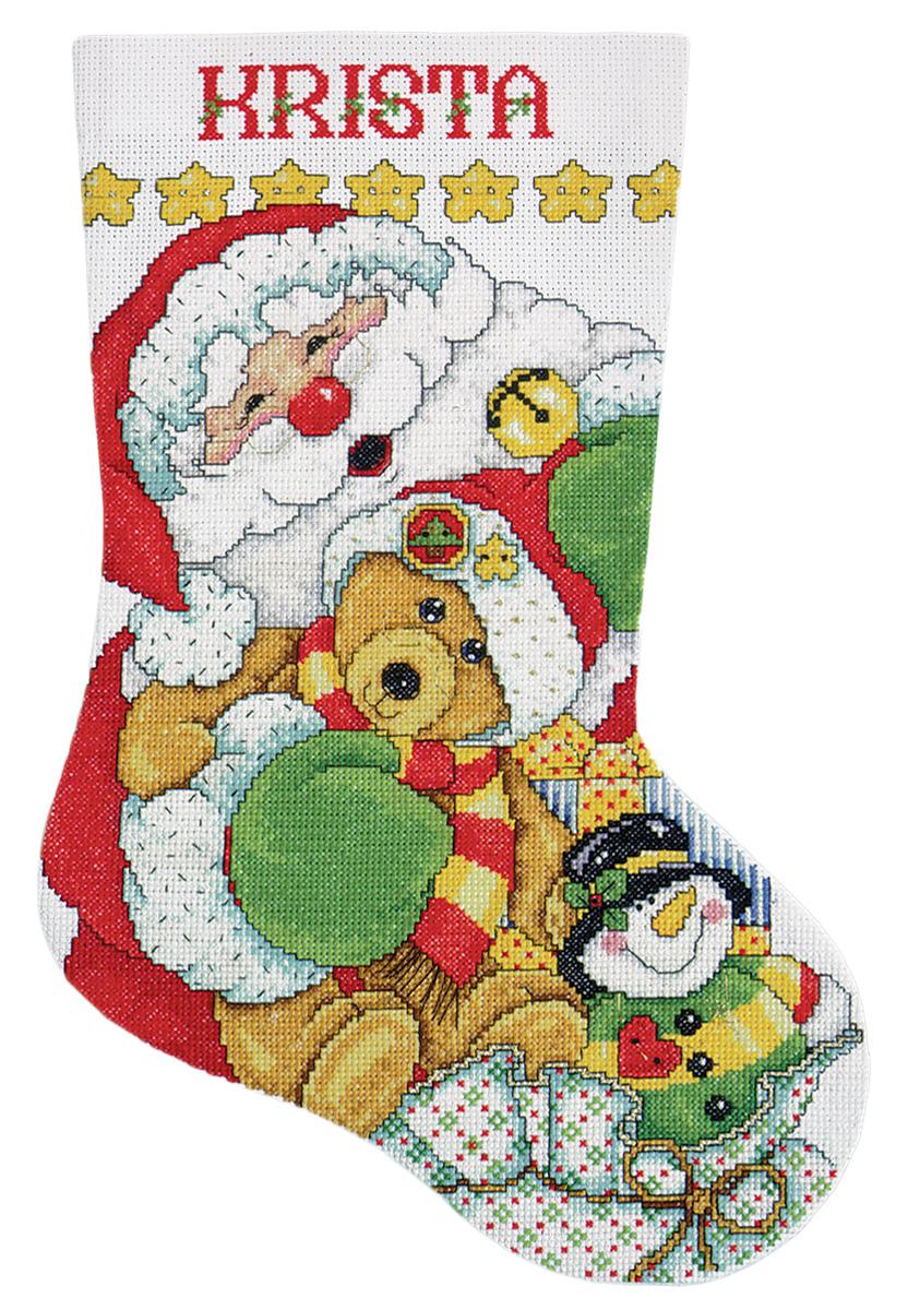 Набор для вышивания крестом Design Works Санта, 43 см5414Канва Аида 14 (100% хлопок), ткань для обратной стороны сапожка, нитки мулине (100% хлопок и металлизированные), бусины, игла, подробная инструкция со схемой вышивки