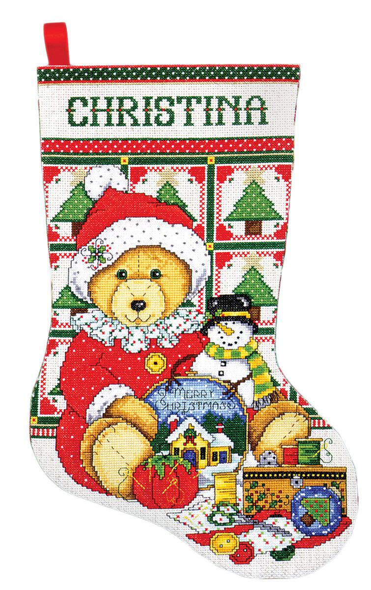 Набор для вышивания крестом Design Works Санта медвежонок, 43 см5485Канва Аида 14 (100% хлопок), ткань для обратной стороны сапожка, нитки мулине (100% хлопок и металлизированные), бусины, игла, подробная инструкция со схемой вышивки