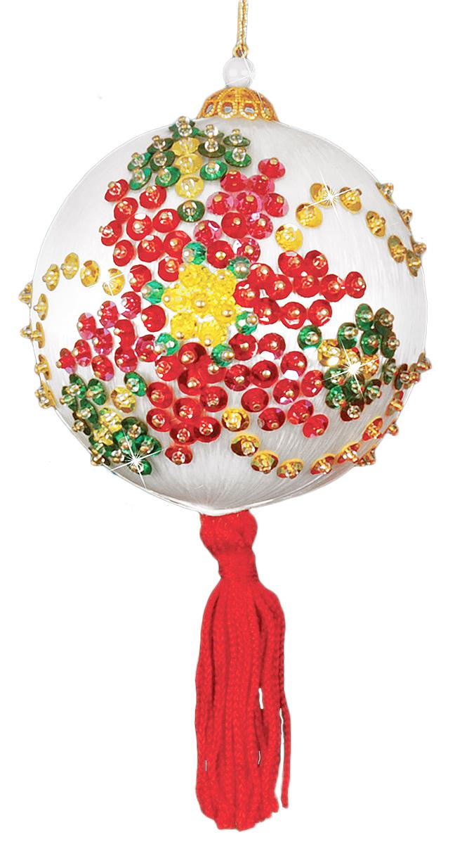 Набор для создания елочной игрушки Design Works Рождественская пуасентия, диаметр 75 см5732WОбмотанный шелком пенопластовый шар, нитки, бисер, пайетки, шнуры, вся необходимая фурнитура, инструкция