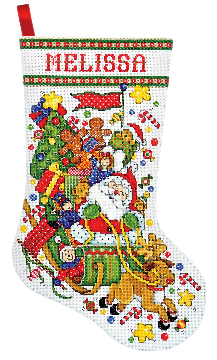Набор для вышивания Design Works Сани Санты, 43 см5951Канва Аида 14 (100% хлопок), ткань для обратной стороны сапожка, нитки мулине (100% хлопок и металлизированные), бусины, игла, подробная инструкция со схемой вышивки