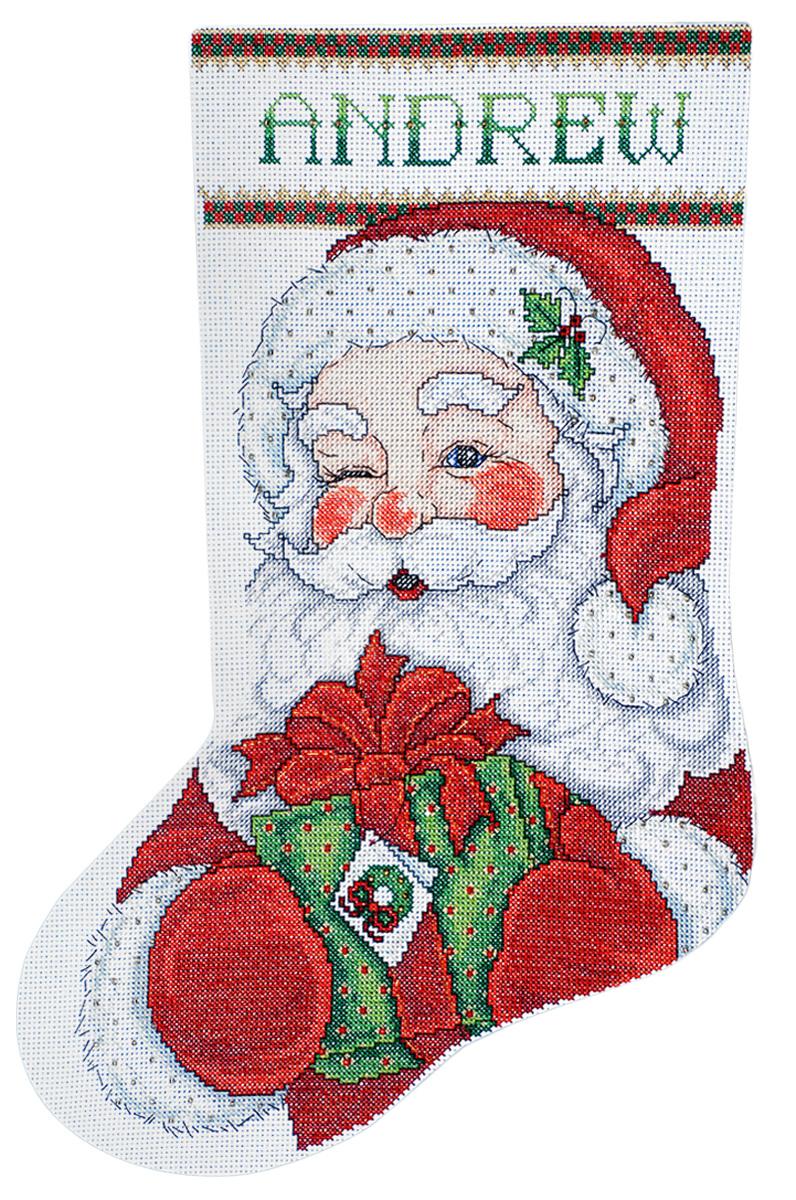 Набор для вышивания Design Works Подмигивающий Санта, 43 см5959Канва Аида 14 (100% хлопок), ткань для обратной стороны сапожка, нитки мулине (100% хлопок и металлизированные), бусины, игла, подробная инструкция со схемой вышивки
