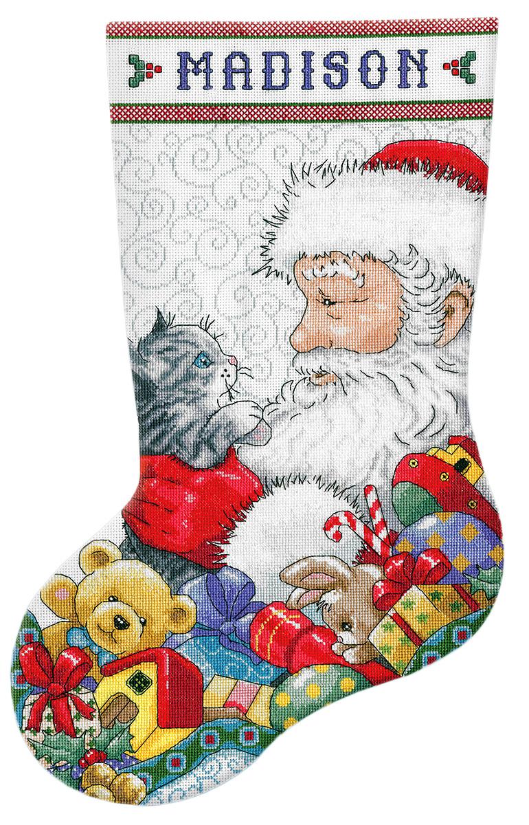 Набор для вышивания Design Works Санта с котенком, 43 см5973Канва Аида 14 (100% хлопок), ткань для обратной стороны сапожка, нитки мулине (100% хлопок и металлизированные), бусины, игла, подробная инструкция со схемой вышивки