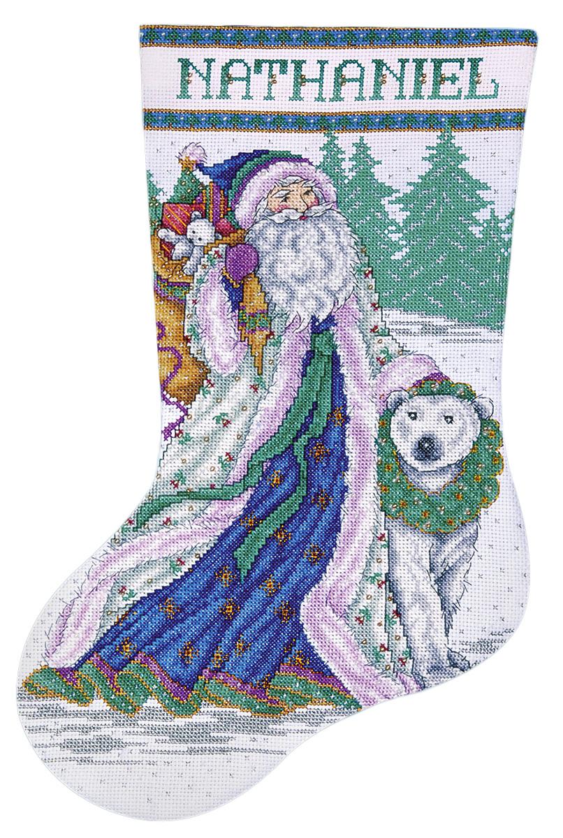 Набор для вышивания Design Works Санта и белый медведь, 43 см5986Канва Аида 14 (100% хлопок), ткань для обратной стороны сапожка, нитки мулине (100% хлопок и металлизированные), бусины, игла, подробная инструкция со схемой вышивки