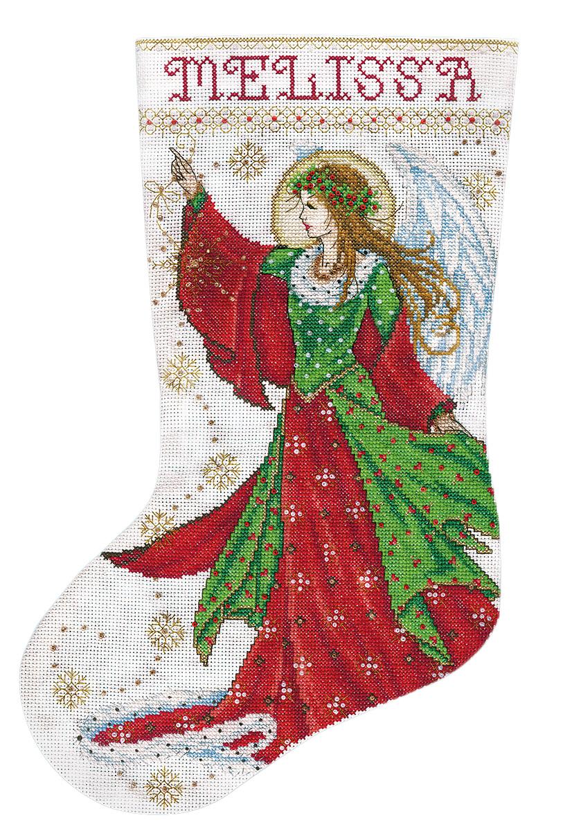 Набор для вышивания Design Works Ангел радости, 43 см5990Канва Аида 14 (100% хлопок), ткань для обратной стороны сапожка, нитки мулине (100% хлопок и металлизированные), бусины, игла, подробная инструкция со схемой вышивки