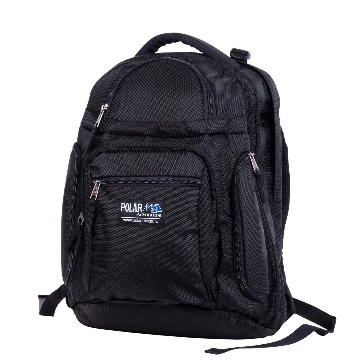 Рюкзак городской Polar, 35,5 л, цвет: черный. П1063-05П1063-05Материал – высокопрочный полиэстер с водоотталкивающей пропиткой. Недорогой рюкзак для Вашего ноутбука. Жесткая спинка с вертикальными вставками из пены и трикотажной сетки для лучшей циркуляции воздуха, удобные лямки с дополнительной поясничной стяжкой, уменьшат нагрузку на спину и сделают рюкзак очень удобным и комфортным при эксплуатации. Отделение для ноутбука с дополнительными карманами для всего самого необходимого (зарядное устройство, мышка) + отделение для рабочих документов формата А4, папок или ваших вещей. Два боковых кармана на молнии. Вместительный карман с органайзером и карабином для ключей. Два кармана на молнии для мелких предметов. Вместительный и очень удобный рюкзак позволит вам взять с собой все необходимое как для вашего портативного компьютера, так и для себя.
