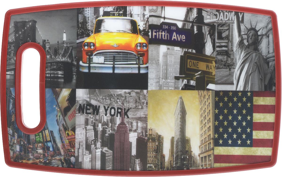 Доска разделочная Mayer & Boch New-York, 37 х 23 х 1,2 см24762Разделочная доска Mayer & Boch New-York, выполненная из высококачественного полипропилена, станет незаменимым аксессуаром на вашей кухне. Одна сторона доски декорирована изображением города, другая сторона белого цвета. Изделие отлично подходит для приготовления и измельчения пищи, а также для сервировки стола. Такая доска прекрасно впишется в интерьер любой кухни и прослужит вам долгие годы.