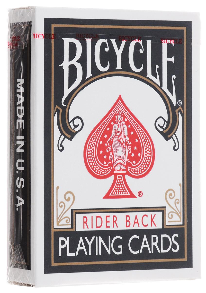 Карты игральные Bicycle Rider Back, 54 картыК-078Карты игральные Bicycle Rider Back - стандартные игральные карты с черной рубашкой. Карты Bicycle уже давно считаются классикой как среди любителей, так и в мире профессиональных игроков. Bicycle - это классические американские карты, которые выпускаются United States Playing Card Company с конца XIX века. Благодаря узнаваемому дизайну, отменному качеству и невысокой цене они пользуются популярностью во всем мире. Карты Bicycle отличает ряд особенностей. Покрытие Air-Cushion обеспечивает отличную сохранность. Классический размер позволяет уверено работать с любыми вариациями колод. Дизайн подходит как для игры в покер, так и для различных манипуляций.