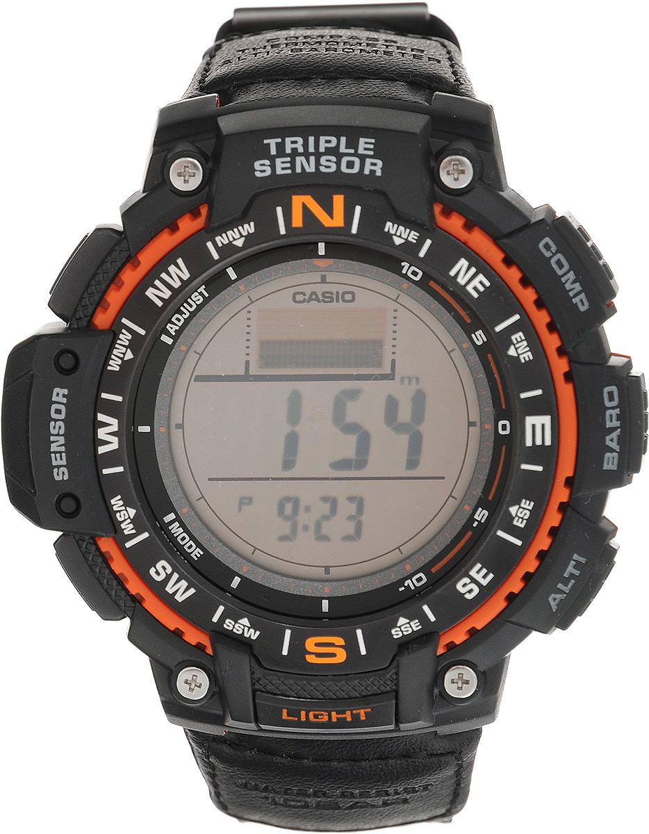 Часы наручные Casio, черный, оранжевый. SGW-1000B-4ASGW-1000B-4AНаручные часы Casio произведены опытными специалистами из материалов самого высокого качества на базе новейших технологий. Часы прошли тщательную проверку и контроль качества. Часы оснащены кварцевым механизмом. Корпус выполнен из высококачественной нержавеющей стали с пластиковыми вставками. Дисплей часов защищен минеральным стеклом, устойчивым к появлению царапин и подсвечивается светодиодом, функция автоподсветки освещает циферблат при повороте часов к лицу. Ремешок часов выполнен из прочного текстиля и вставок из кожи и оснащен застежкой-пряжкой. Часы имеют дополнительные функции: мировое время, индикатор даты, цифровой компас, барометр, термометр, альтиметр, секундомер, таймер, будильник. Модуль часов рассчитан на работу при низких температурах. Часы укомплектованы паспортом с подробной инструкцией и упакованы в оригинальную фирменную коробку. Характеристики: Длина ремешка (с учетом корпуса): 25 см. Ширина ремешка: 2 см. ...