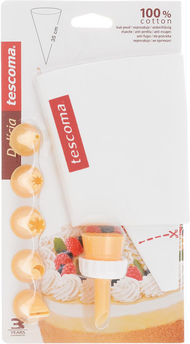 Мешок кондитерский Tescoma Delicia, с 6 насадками. 630487630487Мешок кондитерский Tescoma Delicia, изготовленный из пластика и не протекающего полотна, предназначен для помещения и выдавливания разных кремов, в основном служащих для украшения пирожных и тортов. В наборе к мешку прилагается 6 насадок, имеющих разное сечение и профиль. Кондитерский мешок - превосходный инструмент, который облегчает и ускоряет процесс выпечки печенья, бисквитов, пряников, идеален для украшения десертов и пирогов сливками или заварным кремом, для заполнения пончиков джемом, а также для украшения бутербродов, тостов и канапе паштетом, маслом, плавленым сыром. Праздничный стол требует особого внимания! Благодаря удивительному помощнику - кондитерскому мешку - вы быстро и легко приготовите выпечку любой формы. Количество насадок: 6 шт. Длина мешка: 35 см. Средняя длина насадки: 3 см.