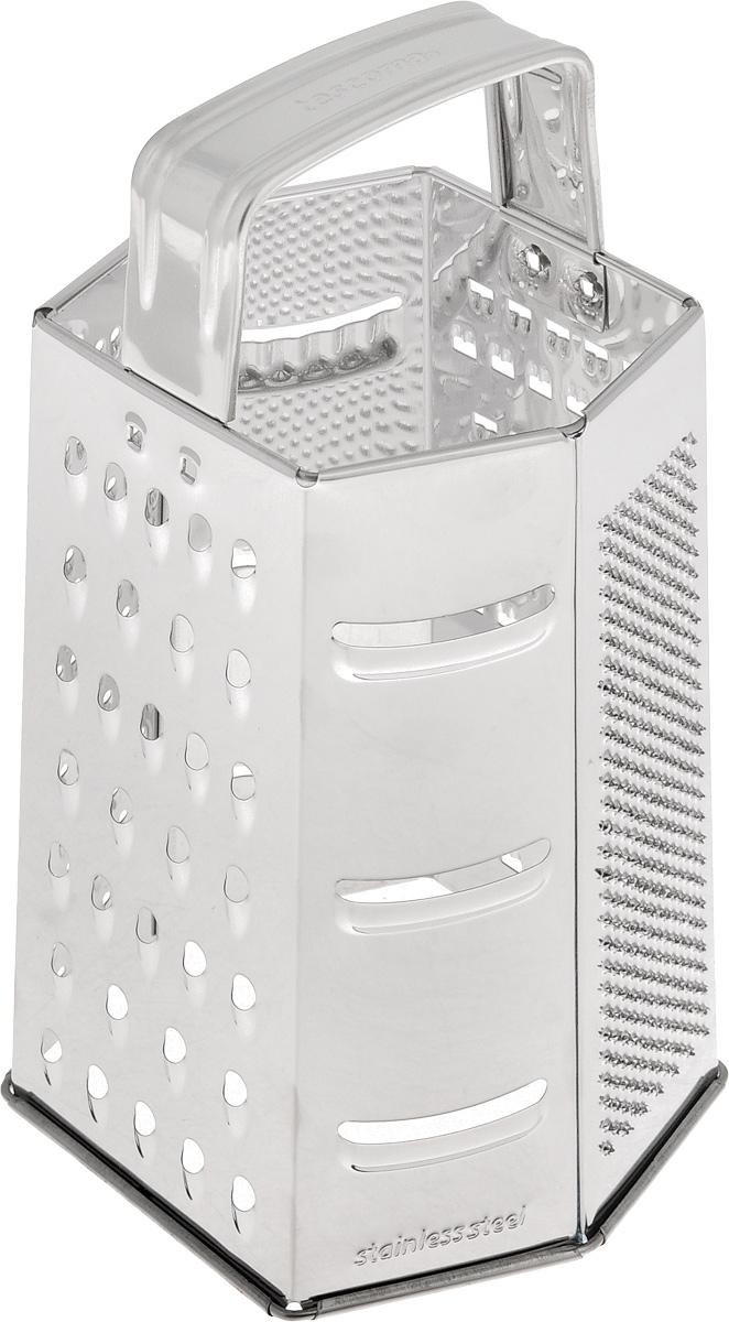 Терка шестигранная Tescoma Handy, цвет: стальной, высота 22 см. 643744643744Шестигранная терка Tescoma Handy, выполненная из высококачественной нержавеющей стали с зеркальной полировкой, станет незаменимым атрибутом приготовления пищи. Сверху на терке расположена эргономичная ручка. Терка замечательна для простого и быстрого измельчения и нарезки продуктов на ломтики. На одном изделии представлены шесть видов терок - крупная, мелкая, терка для овощных пюре, фигурная, шинковка и шинковка фигурная. Современный стильный дизайн позволит терке занять достойное место на вашей кухне. Можно мыть в посудомоечной машине.