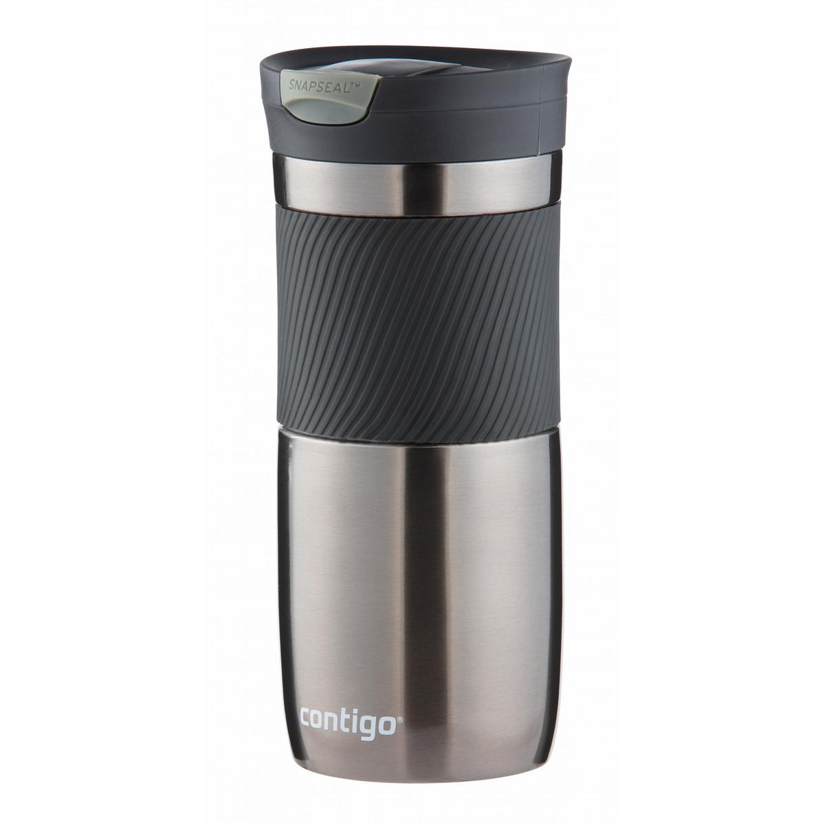 Термокружка Contigo Byron, цвет: серебристый, серый, 470 млcontigo0329Термокружка Contigo Byron, изготовленная из высококачественной матированной нержавеющей стали и пищевого пластика, подходит как для холодных, так и для горячих напитков. Жидкость сохраняется горячей до 6 часов, холодной - до 12 часов. Изделие оснащено крышкой с открывающимся клапаном, что очень удобно для питья. Специальное устройство Snapseal открывает и закрывает клапан. Рельефная резиновая вставка на корпусе кружки обеспечивает удобный хват и защищает руки от воздействия высоких температур. С такой термокружкой вы где угодно сможете насладиться вашими любимыми напитками: в поездке, на прогулке, на работе или учебе. Изделие удобно брать с собой. Подходит для мытья в посудомоечной машине. Диаметр горлышка: 6,5 см. Диаметр (по верхнему краю): 8 см. Высота кружки (с учетом крышки): 18,5 см.
