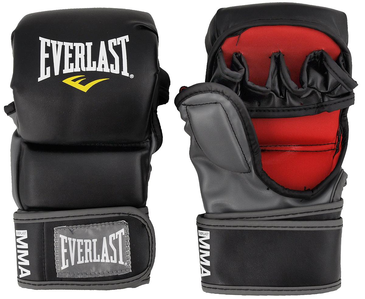 Перчатки тренировочные Everlast MMA Striking. Размер S/M7773SMUТренировочные перчатки Everlast MMA Striking используются для спарринга, отработки ударов и работы в партере. Высококачественный кожзаменитель наряду с превосходным дизайном гарантируют долговечность и функциональность перчаток. Обмотки с застежкой на липучке позволяют подогнать перчатки по размеру. Общая длина перчатки: 23 см. Ширина: 12 см.