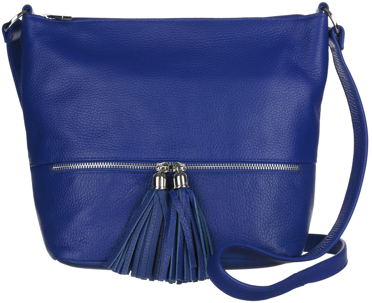 Сумка женская Afina, цвет: синий. 220220Модная женская сумка Afina изготовлена из натуральной кожи с зернистой фактурой и оформлена металлической фурнитурой. Сумка состоит из одного отделения, которое закрывается на пластиковую застежку-молнию. Внутри расположены два нашивных кармашка для мелочей и телефона, врезной карман на молнии, открытый карман и нашивной карман на молнии. Лицевая сторона в нижней части изделия дополнена горизонтальным прорезным карманом на молнии, бегунки которого украшены кожаными кистями. На задней стенке предусмотрен врезной карман на молнии. Изделие оснащено несъемным плечевым ремнем, регулируемой длины. Прилагается фирменный пакет для хранения изделия. Сумка Afina внесет элегантные нотки в ваш образ и подчеркнет ваше отменное чувство стиля.