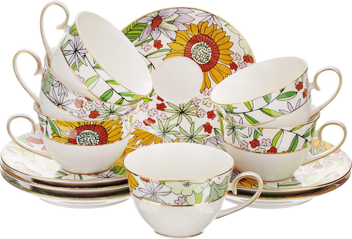 Набор чайный Patricia Настроение, 12 предметов. IM52-0703IM52-0703Чайный набор Patricia Настроение, выполненный из высококачественного фарфора, состоит из 6 чашек и 6 блюдец. Предметы набора декорированы изысканным изображением цветов. Изделия прекрасно подойдут как для повседневного использования, так и для праздников. Набор Patricia Настроение - это не только яркий и полезный подарок для родных и близких, но и великолепное дизайнерское решение для вашей кухни или столовой. Набор имеет подарочную упаковку, задрапированную белой атласной тканью. Не рекомендуется мыть в посудомоечной машине и использовать в микроволновой печи. Объем чашки: 220 мл. Диаметр чашки (по верхнему краю): 9,2 см. Высота чашки: 6 см. Диаметр блюдца: 15 см. Высота блюдца: 2 см.