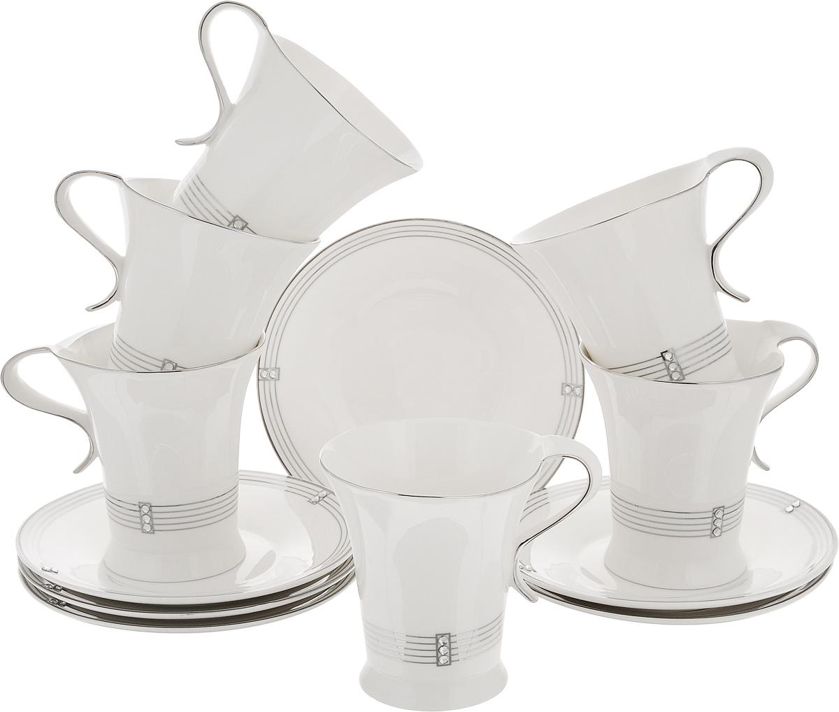 Набор чайный Patricia Даймонд, 12 предметов. IM11348IM11348Чайный набор Patricia Даймонд состоит из 6 чашек и 6 блюдец. Изделия выполнены из высококачественного фарфора. Такой набор изящно дополнит сервировку стола к чаепитию. Не рекомендуется мыть в посудомоечной машине и использовать в микроволновой печи. Объем чашки: 220 мл. Диаметр чашки по верхнему краю: 9 см. Высота чашки: 9,5 см. Диаметр блюдца: 16 см. Высота блюдца: 2 см.