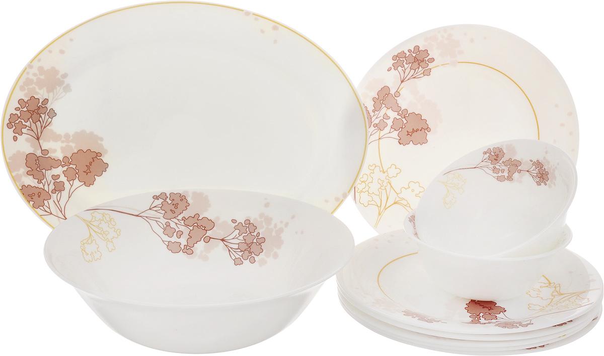 Набор столовой посуды Patricia Трис, 10 предметовIM11-0001Набор Patricia Трис состоит из 6 десертных тарелок, 2 малых салатников, овального блюда и большого салатника. Изделия, выполненные из высококачественной стеклокерамики, имеют классический дизайн с изящным рисунком. Посуда отличается прочностью, гигиеничностью и долгим сроком службы. Она устойчива к появлению царапин и резким перепадам температур. Набор столовой посуды Patricia Трис - это яркий и полезный подарок на любое торжество, а также великолепное дизайнерское решение для вашей кухни или столовой. Не рекомендуется мыть в посудомоечной машине. Можно использовать в микроволновой печи. Диаметр малого салатника (по верхнему краю): 12,5 см. Высота малого салатника: 5 см. Диаметр большого салатника (по верхнему краю): 23 см. Высота большого салатника: 6,7 см. Диаметр десертной тарелки (по верхнему краю): 20 см. Высота десертной тарелки: 1,5 см. Размер блюда (по верхнему краю): 30 х 22,5 см. Высота...
