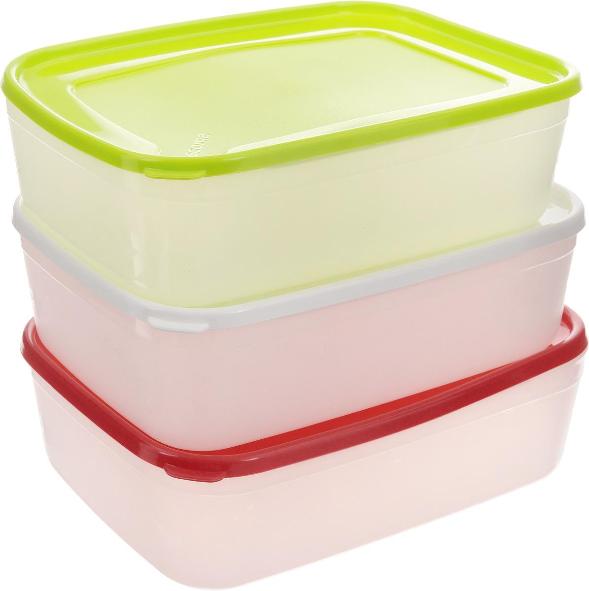Набор контейнеров для заморозки Tescoma Purity, 1,5 л, 3 шт891866Набор Tescoma Purity, выполненный из высококачественного пищевого пластика, состоит из трех контейнеров с плотно закрывающимися цветными крышками. Изделия отлично подходят для хранения продуктов в морозильной камере или холодильнике. Контейнеры удобно складываются друг в друга, что экономит пространство при хранении в шкафу. Пригодны для морозильников, холодильников, микроволновых печей. При использовании в микроволновой печи всегда оставляйте крышку приоткрытой. Можно мыть в посудомоечной машине. Объем контейнера: 1,5 л. Размер контейнера (без учета крышки): 21 х 14,5 х 6,7 см.