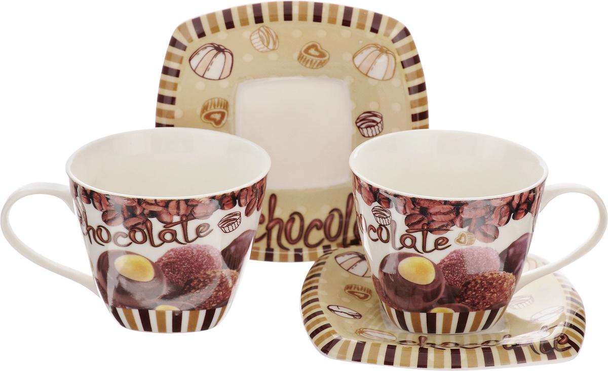 Набор чайный Patricia Шоколад, 4 предметаIM211Чайный набор Patricia Шоколад, выполненный из высококачественного фарфора, состоит из 2 чашек и 2 блюдец. Предметы набора декорированы оригинальным принтом. Изделия прекрасно подойдут как для повседневного использования, так и для праздников. Набор Patricia Шоколад - это не только яркий и полезный подарок для родных и близких, но и великолепное дизайнерское решение для вашей кухни или столовой. Набор имеет подарочную упаковку, задрапированную белой атласной тканью. Не рекомендуется мыть в посудомоечной машине и использовать в микроволновой печи. Объем чашки: 220 мл. Диаметр чашки (по верхнему краю): 8,8 см. Высота чашки: 7,8 см. Размер блюдца: 13 х 13 см. Высота блюдца: 1,3 см.