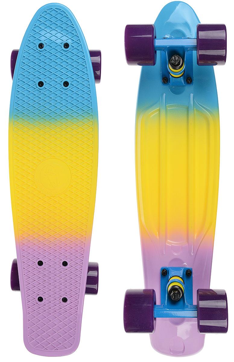 Скейтборд пластиковый Fish, цвет: голубой, желтый, сиреневый, дека 56 х 15 смTLS-401M_TM006Пенни борд Fish подходит для начинающих райдеров, на нем можно кататься в парках, на улице, площадках, с горок, можете добираться на нем до места работы или учебы. Несмотря на небольшие размеры, пенни развивает большую скорость и отлично лавирует. Скейт имеет небольшую длину и маленький вес, поэтому его можно убрать в рюкзак или сумку, нести в руках, он легкий и небольшой. Дека выполнена из высококачественного прочного пластика. Специальный выпуклый рисунок в виде сетки предотвращает скольжение. Подвеска - прочный алюминий. Полиуретановые колеса обеспечивают хорошее сцепление с поверхностью, быстрый разгон и торможение.