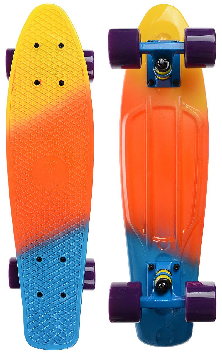 Скейтборд пластиковый Fish, цвет: желтый, оранжевый, голубой, дека 56 х 15 смTLS-401M_TM014Пенни борд Fish подходит для начинающих райдеров, на нем можно кататься в парках, на улице, площадках, с горок, можете добираться на нем до места работы или учебы. Несмотря на небольшие размеры, пенни развивает большую скорость и отлично лавирует. Скейт имеет небольшую длину и маленький вес, поэтому его можно убрать в рюкзак или сумку, нести в руках, он легкий и небольшой. Дека выполнена из высококачественного прочного пластика. Специальный выпуклый рисунок в виде сетки предотвращает скольжение. Подвеска - прочный алюминий. Полиуретановые колеса обеспечивают хорошее сцепление с поверхностью, быстрый разгон и торможение.