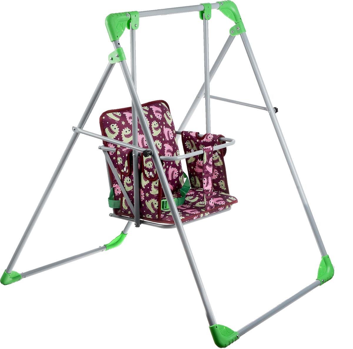 Фея Качели Чарли цвет бордовый зеленый4238-10_бордовый, зеленыйДетские качели Фея Чарли приведут в восторг любого маленького непоседу! Качели предназначены для развлечения и развития вестибулярного аппарата малышей. Качели выполнены из металла и имеют разборную конструкцию, благодаря чему их удобно транспортировать и хранить. Все элементы качелей легко и надежно соединяются винтами и гайками, которые входят в комплект. Сидение имеет спинку и дополнено металлической планкой безопасности, которая не позволит малышу соскользнуть. Качели доставят массу удовольствия вашему малышу, они невероятно просты и удобны в использовании. В разобранном состоянии качели очень компактны и занимают мало места, поэтому их можно брать с собой на природу или в поездку. Предельно допустимая нагрузка составляет 15 кг. В комплекте инструкция по сборке качелей.