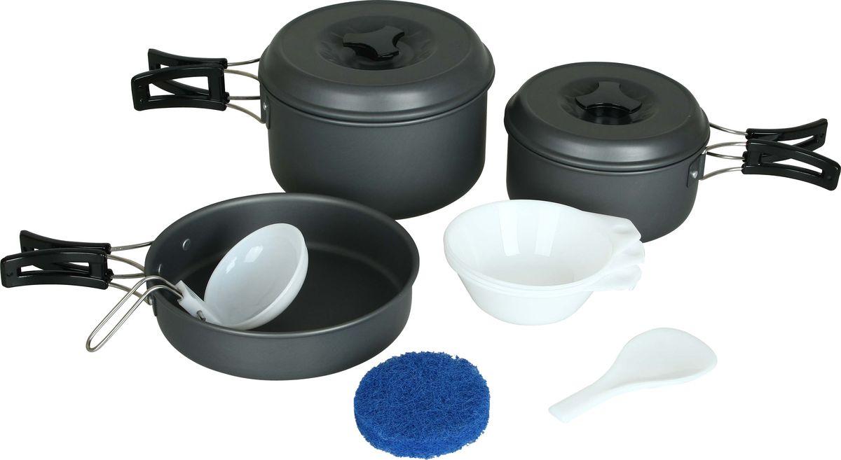 Набор посуды Сплав, 11 предметов5108710Набор посуды Сплав отлично подойдет для приготовления пищи в походе на 2-3 человек. Набор компактно складывается и не занимает много места. Изделия легко моются, а твердый защитный слой, полученный при анодировании, защищает поверхность от коррозии и царапин. Кастрюли и сковородка изготовлены из анодированного алюминия. Специальные крышки ускоряют процесс приготовления пищи и предохраняют ее от насекомых и мелкого мусора. Ручки складываются, позволяя компактно упаковывать посуду. Складной половник, ложка-лопатка и тарелки изготовлены из качественного полипропилена. Для сервировки стола предлагаются 3 глубокие тарелки из полипропилена. А специальная губка позволит вам легко отмыть посуду даже в ледяной воде горных речек. Состав набора: Кастрюля с крышкой и складной ручкой: диаметр: 140 мм, высота: 70 мм, объем: 800 мл, вес кастрюли: 143 г, вес крышки: 67 г. Кастрюля с крышкой и складной ручкой: диаметр: 165 мм, высота: 90 мм, объем: 1600 мл, вес...