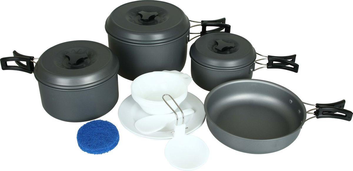 Набор посуды Сплав: 3 кастрюли, 1 сковородка, на 4-5 персон5108712Отлично подойдет для приготовления пищи в походе на 4-5 человек Компактно складывается и не занимает много места Твердый защитный слой, полученный при анодировании, защищает поверхность от коррозии и царапин Легко чистится Вы получите удовольствие от этой посуды, колдуя у газовой горелки, и изобретая нечто необычное из скудного набора продуктов, входящих в раскладку. Изготовленные из анодированного алюминия емкости сохраняют обычные для алюминиевой посуды легкость и быстроту прогрева, не ухудшая вкуса приготовленной еды. Анодированный алюминий (anodised aluminium) — это алюминий со специальным покрытием, получаемым электролитическим способом, которое защищает от окисления и служит защитой от механических повреждений. Посуда легко чистится (в комплект входит губка для чистки). Покрытие не разрушается со временем и не отслаивается. Плотно прилегающие крышки кастрюль (на 800,1600 и 2500 мл) ускоряют процесс приготовления пищи и оберегают еду от мусора и насекомых....