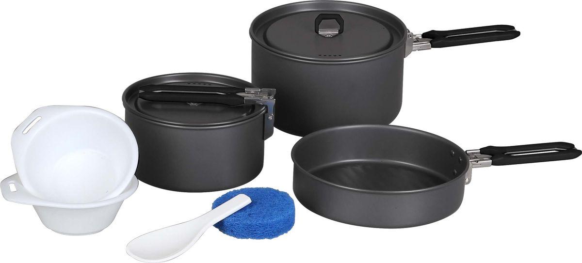 Набор посуды Сплав Flex: 2 кастрюли, 1 сковородка, на 2-3 персоны5108753Подойдет для приготовления пищи в походе на 2-3 персоны Компактно складывается и не занимает много места Твердый защитный слой, полученный при анодировании, защищает поверхность от коррозии и царапин Легко чистится Вы получите удовольствие от этой посуды, колдуя у газовой горелки, и изобретая нечто необычное из скудного набора продуктов, входящих в раскладку. Изготовленные из анодированного алюминия емкости сохраняют обычные для алюминиевой посуды легкость и быстроту прогрева, не ухудшая вкуса приготовленной еды. Анодированный алюминий (anodised aluminium) — это алюминий со специальным покрытием, получаемым электролитическим способом, которое защищает от окисления и служит защитой от механических повреждений. Посуда легко чистится. Покрытие не разрушается со временем и не отслаивается. Плотно прилегающие крышки кастрюль (на 800 и 1000 мл) с отверстиями для выхода пара ускоряют процесс приготовления пищи и оберегают еду от мусора и насекомых. Складывающиеся,...