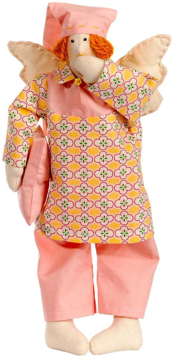 Набор для шитья игрушки Цветница Сонный Ангел, 31 смИН018Сонный ангел. Набор для шитья текстильной игрушки. Туловище игрушки выстрочено. Наполнитель для набивания в комплект не входит. Комплектность набора: Выстроченные детали туловища, ткань и выкройка для одежды-хлопок 100%. Нитки мулине. Пряжа. Бусины.Декоративная пуговица. Инструмент для выворачивания. Инструкция по пошиву. Размер в готовом виде (высота), см: 31.