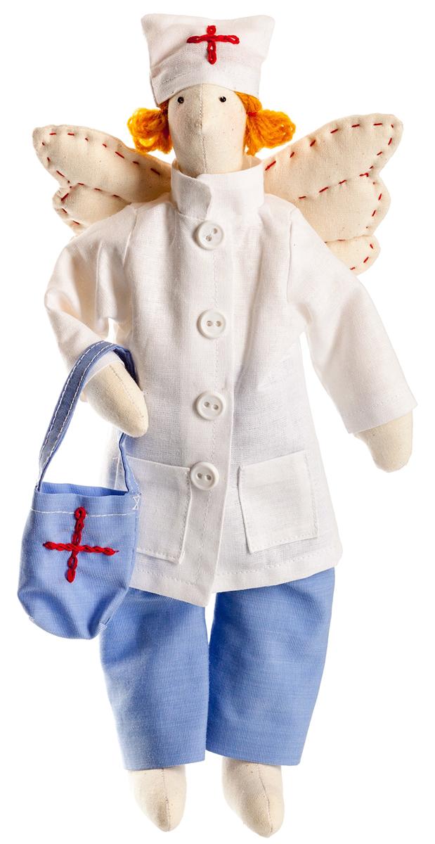 Набор для шитья игрушки Цветница Ангел Доктор, 32 смИН019Ангел Доктор. Набор для шитья текстильной игрушки. Туловище игрушки выстрочено. Наполнитель для набивания в комплект не входит. Комплектность набора: Выстроченные детали туловища, ткань и выкройка для одежды-хлопок 100%, нитки мулине, пряжа, бусины, пуговицы, инструмент для выворачивания, инструкция по пошиву. Размер в готовом виде (высота), см: 32.