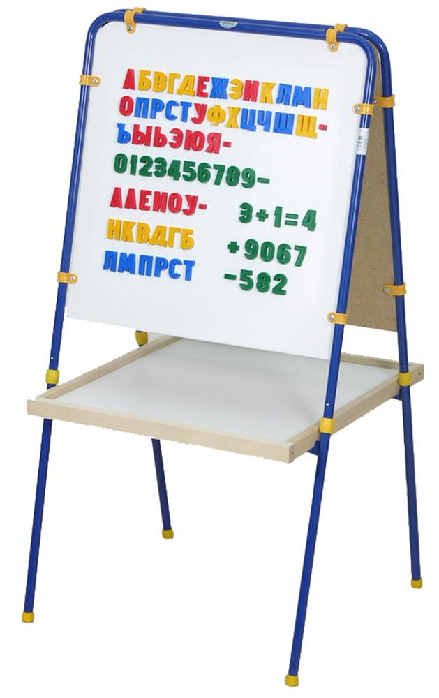 Фея Мольберт детский цвет синий + подарок Труба 20 мм мелки и буквы5537Мольберт Фея с буквами предназначен для детского творчества и развития. Одна сторона мольберта предназначена для рисования и письма мелом, другая - металлическая - для рисования маркерами. Также к ней можно прикреплять бумажные листы для рисования и магнитные буквы и цифры, составляя слова и решая простые примеры. Мольберт Фея двусторонний, поэтому рисовать на нем смогут сразу два ребенка, не мешая друг другу. После использования компактно складывается по типу книжка. Высота: 106 см. Ширина: 54 см. Размер рабочей поверхности экрана: 50 x 53 см.