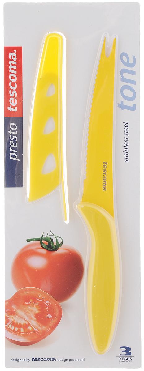 Нож для нарезки овощей Tescoma Presto, с чехлом, цвет: желтый, длина лезвия 13,5 см863084_желтыйНож Tescoma Presto предназначен специально для бережного нарезания овощей. Лезвие выполнено из высококачественной нержавеющей стали с антиадгезивным покрытием, а ручка из прочного пластика. Продукты не прилипают к лезвию. Изделие легко чистится. В комплект входит защитный чехол для бережного хранения. Можно мыть в посудомоечной машине, не рекомендуется использовать металлические губки и абразивные чистящие средства. Общая длина ножа: 23 см. Длина лезвия: 13,5 см.