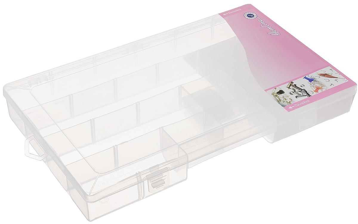 Органайзер для мелкой фурнитуры Hemline, 24 отделенияM3004.XLОрганайзер для мелкой фурнитуры Hemline, выполненный из прозрачного пластика, отлично подойдет для хранения канцелярских принадлежностей дома или в офисе, аксессуаров для шитья и рукоделия, болтов и гаек, а также принадлежностей для рыбалки и других видов хобби. Органайзер имеет прочные съемные разделители, с помощью которых можно регулировать количество отделений. Сбоку имеется отверстие для подвешивания органайзера на крючок. Прозрачный материал позволяет видеть содержимое. Крышка органайзера, плотно закрывающаяся на 2 защелки, имеет метрическую и имперскую шкалу. Такой органайзер поможет хранить ваши вещи в порядке. Размер отделения: 5,5 х 5,5 х 4 см.