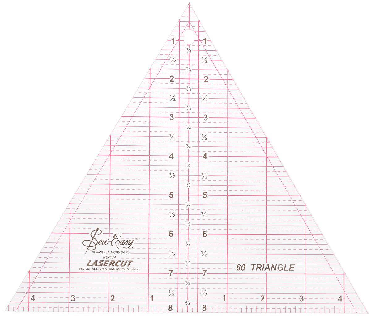 Линейка-треугольник для пэчворка Hemline, с углом 60 градусов, 8 x 9 1/4 (20,32 х 23,46 см)NL4174Небольшая линейка-треугольник Hemline предназначена для раскроя равносторонних треугольных блоков и ромбов с углом 60°. Используется для раскроя 6-лучевых звезд и пирамид, больших ромбов и треугольников. Размер: 23,46 см.