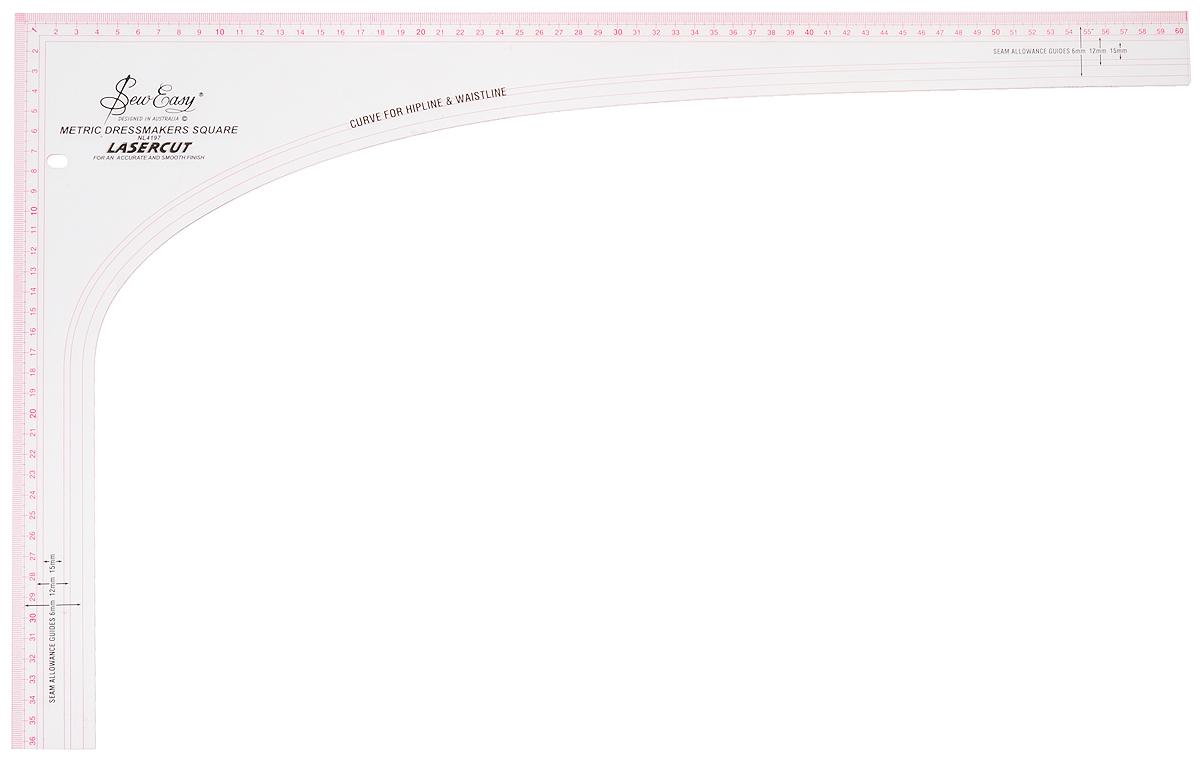 Лекало портновское Hemline, угольник, 60,5 х 36,5 смNL4197Прозрачное угловое лекало Hemline предназначено для шитья и рукоделия. Имеет разметки на швы 6, 12 и 15 мм и возможность разметки линии бедра и талии. Метрическая шкала измерения. Размер: 36,5 x 60,5 см.