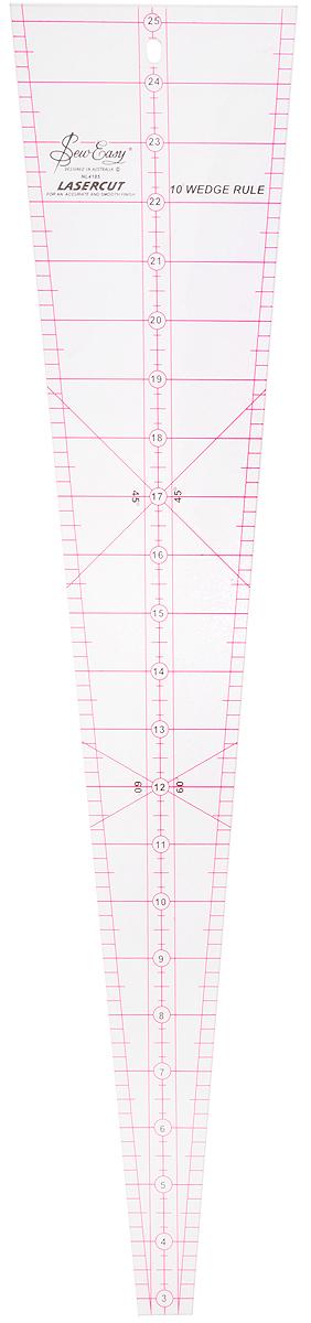 Линейка для пэчворка Hemline, клиновидная с углом 10 градусов, 22 1/2 x 4 7/8 (57,15 х 12,36 см)NL4185Линейка для пэчворка Hemline - идеальный инструмент для раскроя кругообразных и полукруглых блоков. Линии 45° и 60° позволяют аккуратно раскраивать клиновидные детали. Линии разметки на подшив 1/4 дюйма нанесены на все стороны лекала. Размер: 12 1/2 х 4 7/8 (57,15 х 12,36 см).