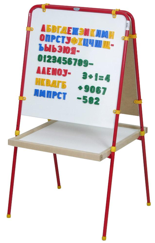 Фея Мольберт детский цвет красный + подарок Труба 20 мм мелки и буквы