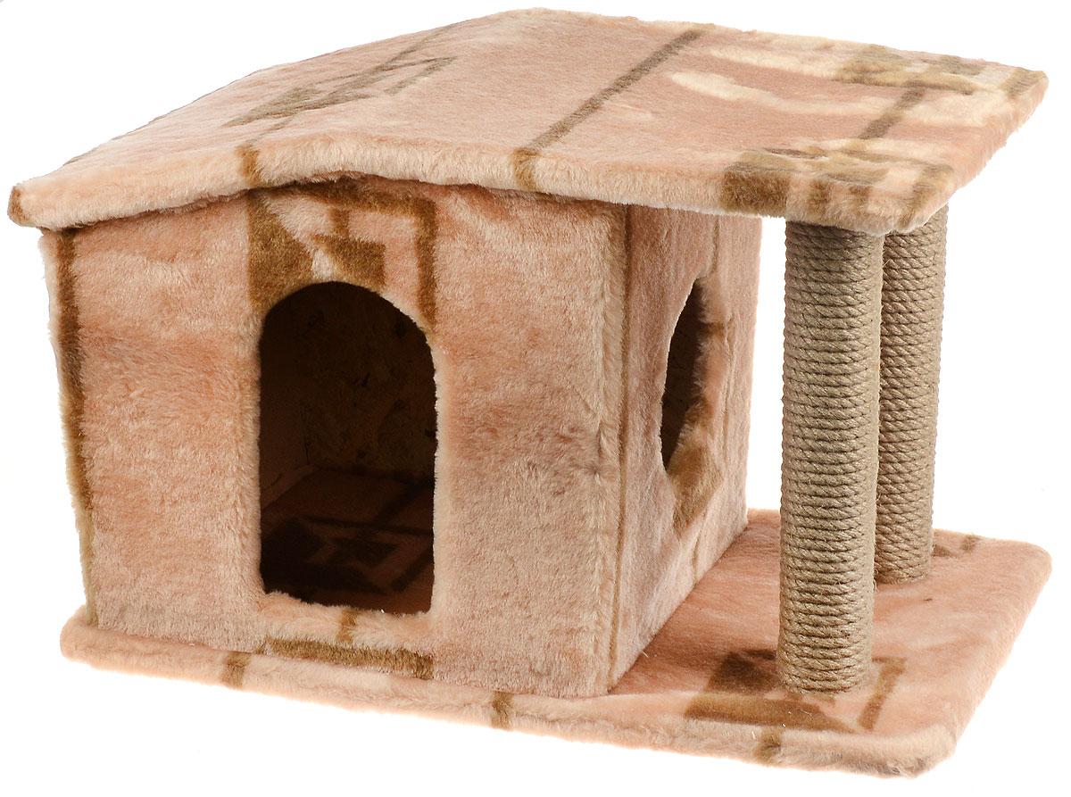 Игровой комплекс для кошек Меридиан Патриция, с домиком и когтеточкой, цвет: коричневый, бежевый , 63 х 40 х 41 смД376 ГИгровой комплекс для кошек Меридиан Патриция выполнен из высококачественного ДВП и ДСП и обтянут искусственным мехом. Изделие предназначено для кошек. Ваш домашний питомец будет с удовольствием точить когти о специальные столбики, изготовленные из джута. А отдохнуть он сможет в оригинальном домике.