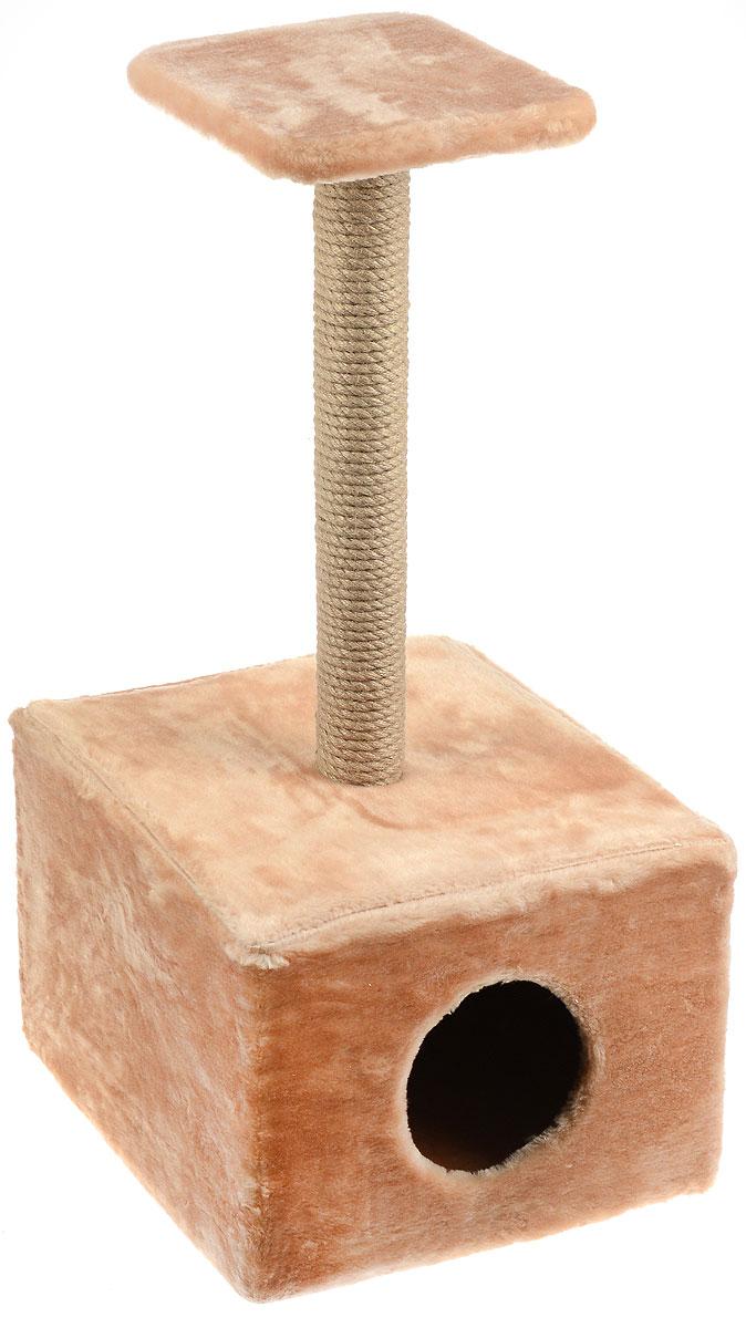 Игровой комплекс для кошек Меридиан, с полкой и домиком, цвет: светло-коричневый, бежевый, 39 х 39 х 80 смД114 СКИгровой комплекс для кошек Меридиан выполнен из высококачественного ДВП и ДСП и обтянут искусственным мехом. Изделие предназначено для кошек. Ваш домашний питомец будет с удовольствием точить когти о специальный столбик, изготовленный из джута. А отдохнуть он сможет либо на полке, находящейся наверху столбика, либо в расположенном внизу домике. Общий размер: 39 х 39 х 80 см. Размер полки: 24 х 24 см. Размер домика: 39 х 39 х 30 см.